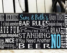Best Man Cave Signs : Bar rules sign on wood or canvas man cave custom pub