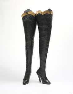 Pair of Cancan boots by the same maker, Maniatis Bottier.  ETA: I found some interesting additional information about these boots. Although they originally were thought to be stage boots, the lack of wear to the soles suggests that they may have actually been made for Paris' famed red-light district.