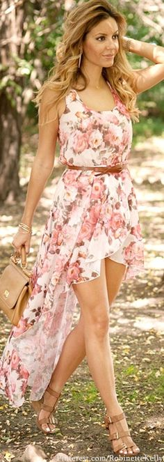 floral swallowtail dress, belt, shoes and clutch all chocolate