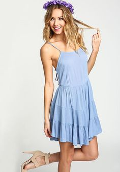 Blue Lace Up Tiered Crepe Dress - Day Dresses - Dresses