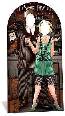 Roaring 20 s Couple - Hollywood - Stand In - Lifesize Cardboard Cutout Mafia Party, Gangster Party, 1920s Speakeasy, Speakeasy Party, Speakeasy Decor, Roaring 20s Theme, Roaring Twenties, Twenties Party, Roaring 20s Wedding