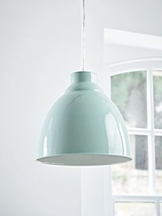 Carefully handmade from iron with a beautiful eau de nil finish, this simple and stylish pendant is perfect for adding a pop of colour to your space. Each domed pendant includes a simple clear flex, matching ceiling rose and gloss white interior to ref Duck Egg Blue Pendant Light, Green Pendant Light, Small Pendant Lights, Pendant Lighting, Kitchen Ceiling Lights, Ceiling Pendant, Kitchen Lighting, Blue Lamp Shade, Lamp Shades