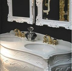 Bronces Mestre classic three hole washbasin mixer  in 24Karat gold and swarovski crystal handles . classic bathroom interior design.