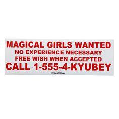 Puella Magi Madoka Magica Anime Bumper Sticker Magical by naniwear, $4.00