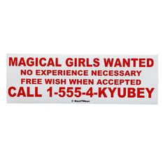 Puella Magi Madoka Magica Anime Bumper Sticker Magical by naniwear, $4.00