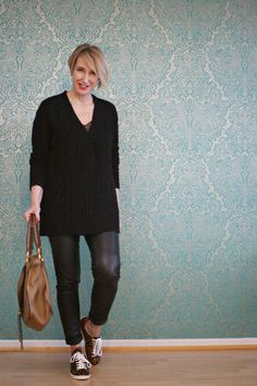 A fashion blog for women over 40 and mature women http://www.glamupyourlifestyle.com/  Sweater: Dorothee Schumacher Leather-Leggings: Arma Collection Sneaker: Isabel Marant Bag: Chloé
