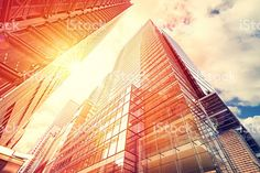 Vintage toned sunset over skyscrapers, business background. royalty-free stock photo