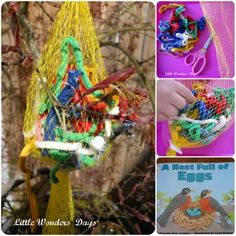 Little Wonders' Days: Helping Nesting Birds, Make a Nesting Material Bag. Chloe and I did something very similar yesterday, we hope the birdies like it-steph