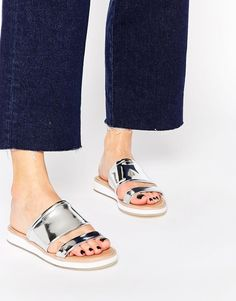 66e3af9c0bebcf ALDO Rosselyn Silver Double Strap Slider Sandals at asos.com