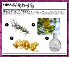 DIY CUTICLE OIL :: You'll need a small sprig of rosemary (natural antiseptic), 0.5 fl. oz. extra virgin olive oil, 1 vitamin E. capsure (or 1/4 tsp.) & an empty nail polish bottle (available at Sally's). *Lemon essential oil or lemon juice also promotes healthy nail growth due to the vitamin C. Lavender oil smells nice, too.) :: Works great when applied twice a day--keeps cuticles looking healthy & moisturized protecting them from water & wear 'n tear. | #cuticleoil #diycuticleoil…