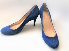 Ivanka Trump Blue Suede Stiletto Pumps High Heel Stiletto Shoes 7-1/2 Prom Party #IvankaTrump #Stilettos #Party