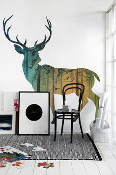 Wall Murals for Winter with Some Exposed Themes: Deer And Forest Wall Mural Designed For White Living Room Accentuated By Sunlight Coming Fr...