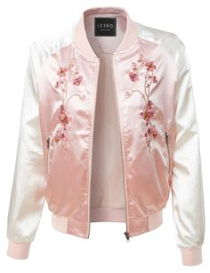 LE3NO Womens Lightweight Satin Floral Embroidery Zip Up Bomber Jacket