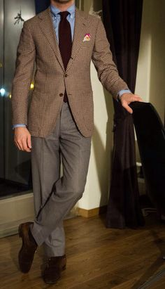 Blue button down shirt, brown guncheck blazer, grey pants, brown suede double monk strap shoes, maroon tie, casual Friday
