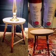 Spray painted two old wooden stools to make great bedside tables! #grey #copper #metallic #bedroomdecor #bedroomdesign #upcycle #diy #b&q #colours