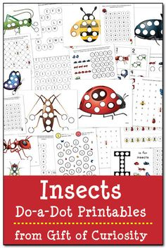 Fun way to learn about insect and practice fine motor skills - FREE Insects do-a-dot printables