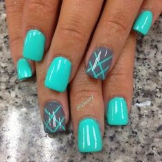 45 Inspirational Blue Nail Art Designs and Ideas nail designs for summer elegant nail designs for short nails holiday nail stickers nail art stickers walmart full nail stickers Fancy Nails, Diy Nails, Teal Nails, Nail Nail, Nail Polishes, Turquoise Art, Nail Glue, Turquoise Acrylic Nails, Summer Shellac Nails