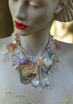 Inspiration- Baroque era, Spring shades , nature, antique textile..Bohemian statement necklace with shabby chic details and some sparkle & fairytale