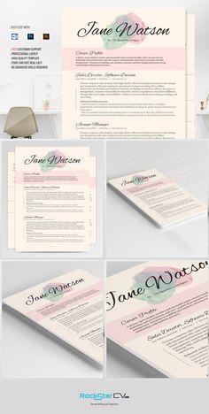 Resume Template CV Kiania by Resume Templates on @creativemarket