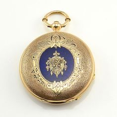 Antique Swiss 18K gold pocket watch triple signed by Jules Perrenoud, circa 1840. This hunter case pocket watch has blue enameling on the front and back...