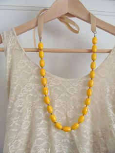 Vintage Mustard Yellow Bead and Ribbon Necklace