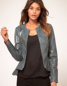 ASOS leather peplum blazer