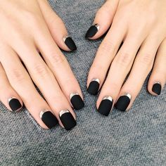 Black nails are ultra-cool. And there are so many options to choose. Check out our favorite ideas for black nail designs and pin your faves. Matte Black Nails, Black Nail Art, Black Polish, White Nail, Burgundy Nails, Silver Nails, Pink Nail, Purple Nails, Black Nail Designs