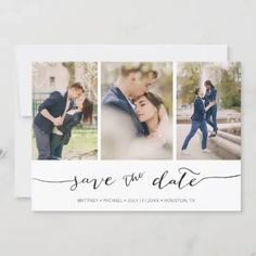 Hand Lettered 3 Image | Save the Date Card Grey Save The Dates, Save The Date Photos, Save The Date Cards, Engagement Party Invitations, Save The Date Invitations, Bridal Shower Invitations, Hand Typography, Hand Lettering, Engagement Pictures