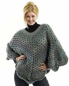 Martha Stewart Coming Home Poncho - Free Crochet Pattern - See http://www.ravelry.com/patterns/library/martha-stewart-coming-home-poncho-knit For Additional Projects - (lionbrand)