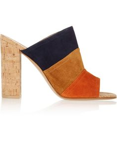 Gianvito Rossi Color-block suede and cork mules - ShopStyle Mules Shoes, Heeled Mules, Shoes Heels, Hot Shoes, Block Heel Loafers, Cute Sandals, Stylish Sandals, Luxury Shoes, Beautiful Shoes