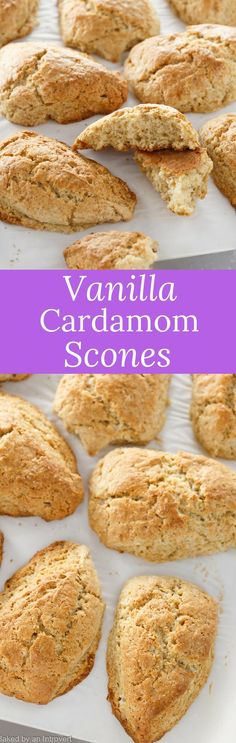 Whip up a delicious breakfast with this recipe for Vanilla Cardamom Scones. So light and tender you will never want store-bought scones! via @introvertbaker