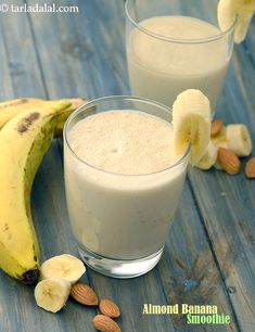 Fruit and nuts complement each other no matter in what form. When you don't have time for a cooked breakfast whip up a hearty almond and banana smoothie for instant energy! Is Almond Milk Healthy, Smoothies With Almond Milk, Apple Smoothies, Healthy Smoothies, Healthy Drinks, Healthy Foods, Healthy Recipes, Fruit Recipes, Apple Recipes