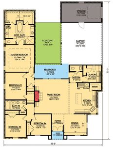 French Country With Rear Courtyard - 56323SM floor plan - Main Level