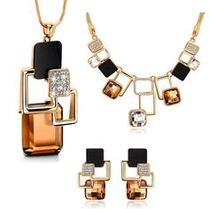 European and American fashion 3p Golden Hollow Geometric Big Stone Jewelry Sets Crystal Fine jewellery Set for women personality-in Jewelry Sets from Jewelry & Accessories on Aliexpress.com | Alibaba Group
