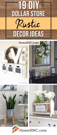 19 DIY Dollar Store Rustic Home Decor Ideas for an Affordable and Fashionable Home Farmhouse Style Decorating, Farmhouse Decor, Farmhouse Ideas, Diy Bedroom Decor, Diy Home Decor, Primitive, Dollar Tree Crafts, Spring Home Decor, Country