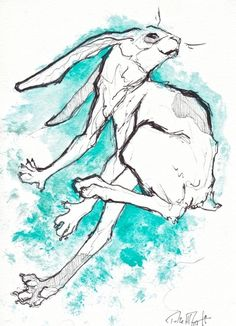 teal rabbit ink drawing