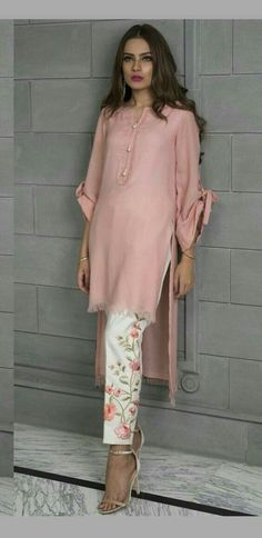 Like the look of this outfit. Love the pants the top it has sleeves and looks fash forward(baad buttons and printed pj) Pakistani Dresses Casual, Indian Dresses, Indian Outfits, Casual Dresses, Casual Outfits, Asian Fashion, Hijab Fashion, Fashion Clothes, Fashion Dresses