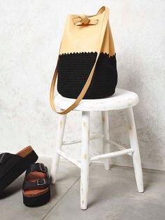 Gracie Roberts Mix Up Crochet Bucket Bag at Free People Clothing Boutique