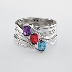Our delicate birthstone rings were designed to be stacked together, allowing her to wear her own birthstone alongside those of her true love, children, family members or friends.