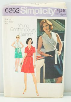 Vintage 60's Simplicity 6262 Misses' Front Wrap Dress Pattern Size 10