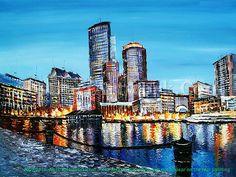 Skyline Painting, City Painting, Boston Skyline, Modern Art Paintings, Oil Paintings, Knife Painting, City Art, Landscape Art, Art World