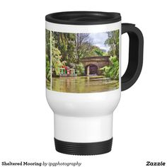 Sheltered Mooring Travel Mug Trees sheltering a barge moored on the Kennet and Avon canal in Wiltshire