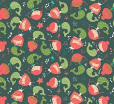 Mermaids in Dark Teal (Heather Rosas - Under the Sea) Cotton Quilting Fabric, Cotton Quilts, Fabric Canada, Dark Green Background, Quilting Classes, Modern Fabric, Dark Teal, Fabric Online, Under The Sea