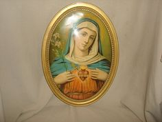 Vintage SACRED HEART of MARY Icon Print ~ Oval Convex Bubble Gilt Gold Picture Frame ~ Large 15x21~ Catholic ~ Religious Print