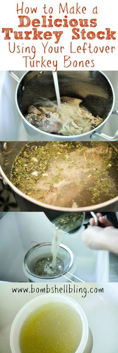 How to Make a Delicious Turkey Stock Using Your Leftover Turkey Bones by bombshellbling: Use the leftover bones from your Thanksgiving turkey to make a simple and delicious turkey stock! #Soup #Turkey_Stock