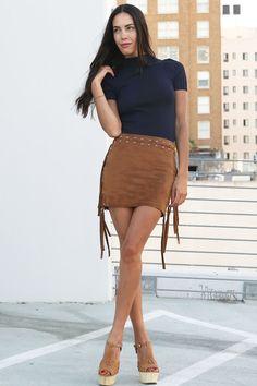 Ladyland Camel Fringe Skirt
