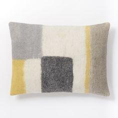 Felt Colorblock Pop Pillow Cover - Citrus Yellow