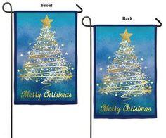 Gold Christmas Tree 2 Sided Garden Flag