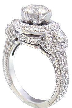 14k white gold round cut diamond engagement ring halo by KNRINC, $6299.00