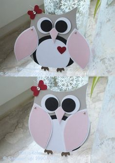 hand crafted owl card ... luv how her wings swivel out to reveal her heart ... great hiding place for a short message ..